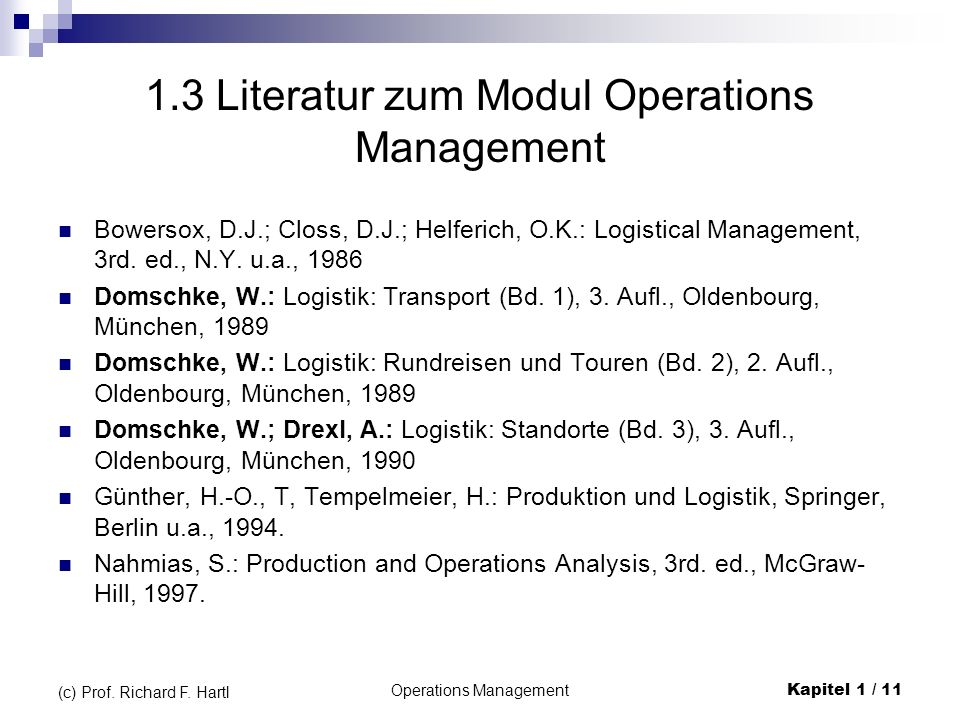 1.3 Literatur zum Modul Operations Management