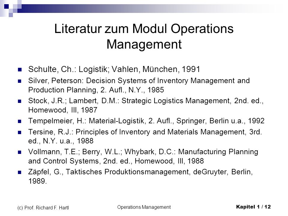 Literatur zum Modul Operations Management