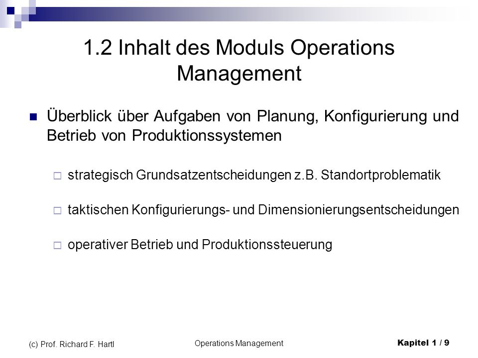1.2 Inhalt des Moduls Operations Management