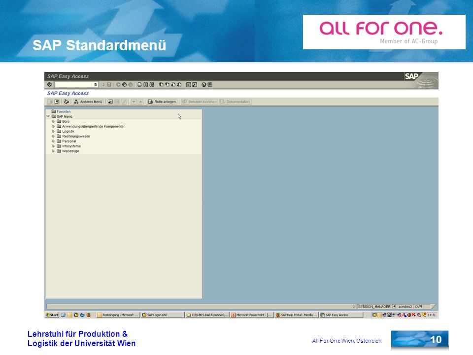 SAP Standardmenü