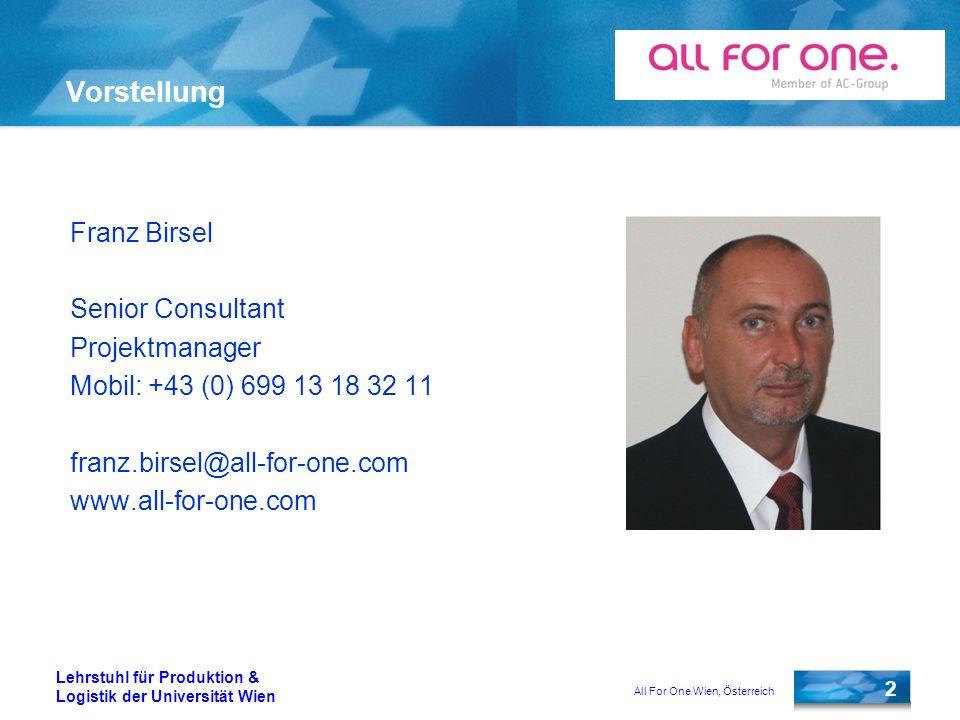 Vorstellung Franz Birsel Senior Consultant Projektmanager
