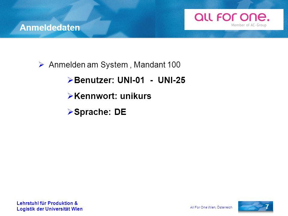 Anmeldedaten Benutzer: UNI-01 - UNI-25 Kennwort: unikurs Sprache: DE