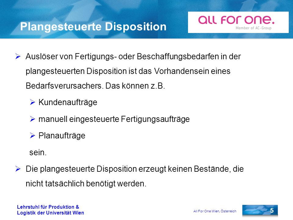 Plangesteuerte Disposition