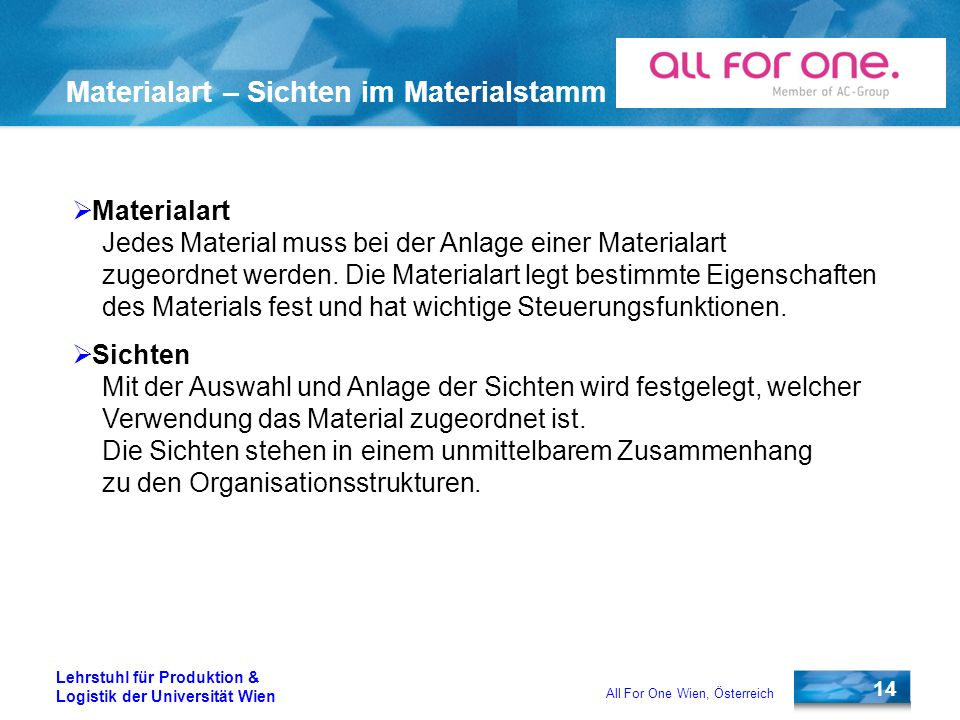 Materialart – Sichten im Materialstamm