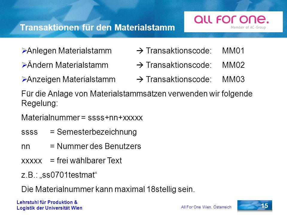 Transaktionen für den Materialstamm