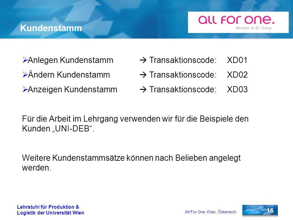 Kundenstamm Anlegen Kundenstamm  Transaktionscode: XD01