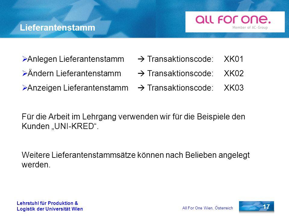Lieferantenstamm Anlegen Lieferantenstamm  Transaktionscode: XK01