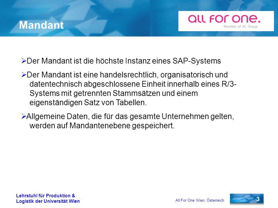 Mandant Der Mandant ist die höchste Instanz eines SAP-Systems