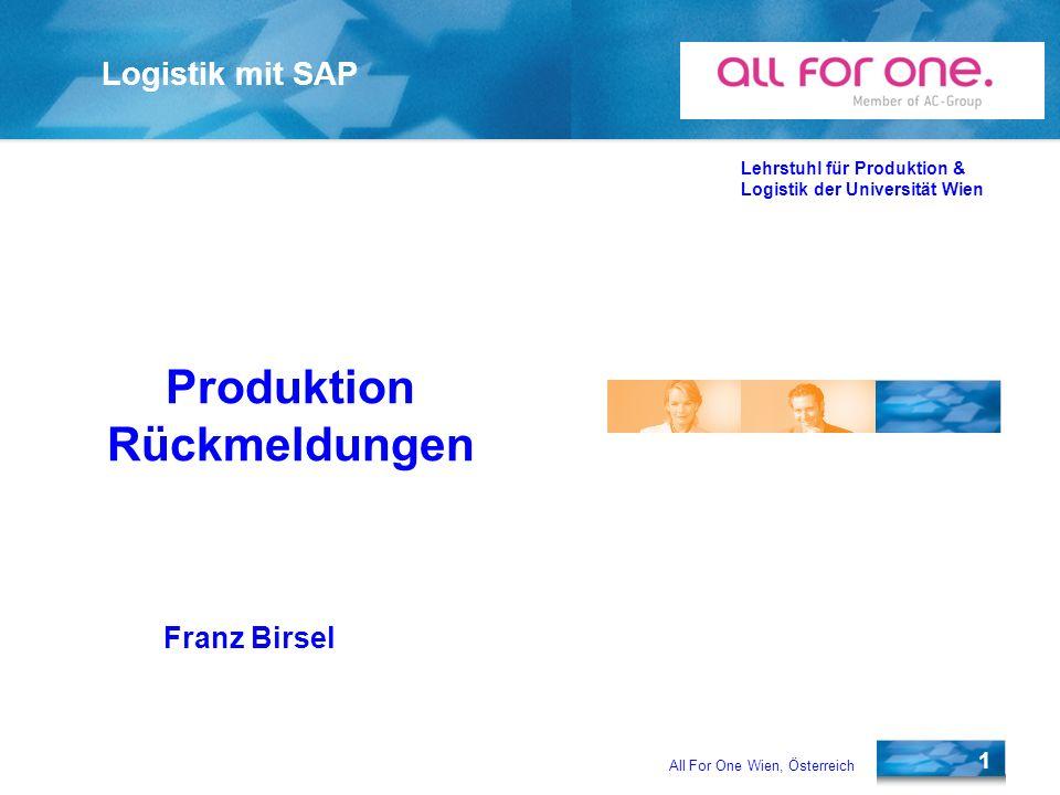 Produktion Rückmeldungen