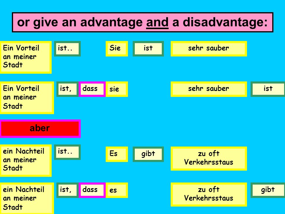 or give an advantage and a disadvantage: