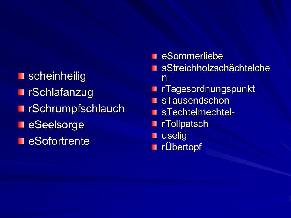 scheinheilig rSchlafanzug rSchrumpfschlauch eSeelsorge eSofortrente