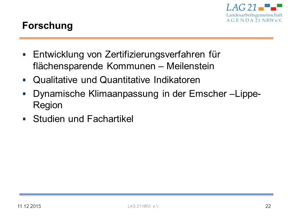 Forschung Entwicklung von Zertifizierungsverfahren für flächensparende Kommunen – Meilenstein. Qualitative und Quantitative Indikatoren.