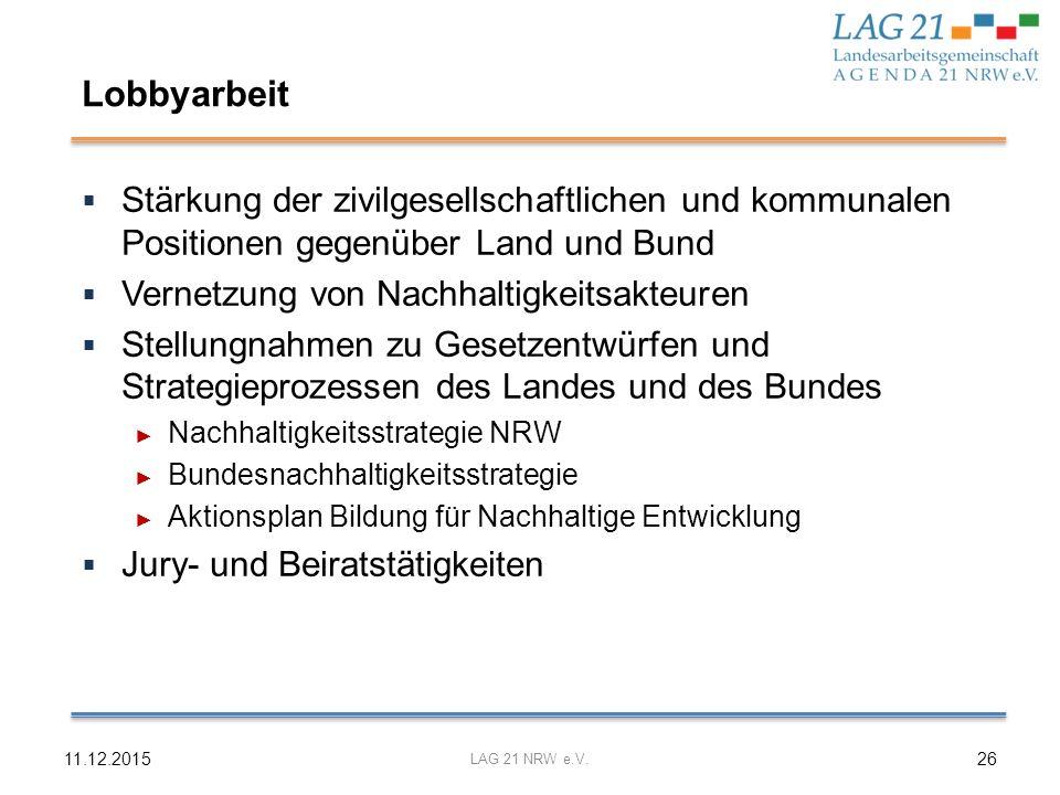Lobbyarbeit Stärkung der zivilgesellschaftlichen und kommunalen Positionen gegenüber Land und Bund.