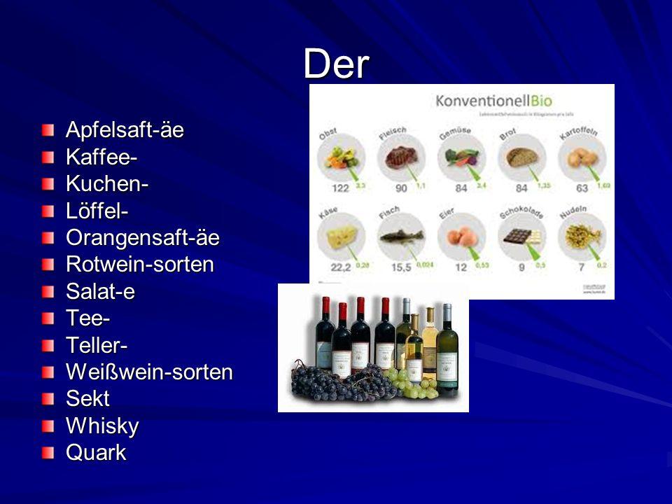 Der Apfelsaft-äe Kaffee- Kuchen- Löffel- Orangensaft-äe Rotwein-sorten