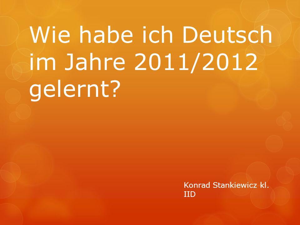 Wie habe ich Deutsch im Jahre 2011/2012 gelernt