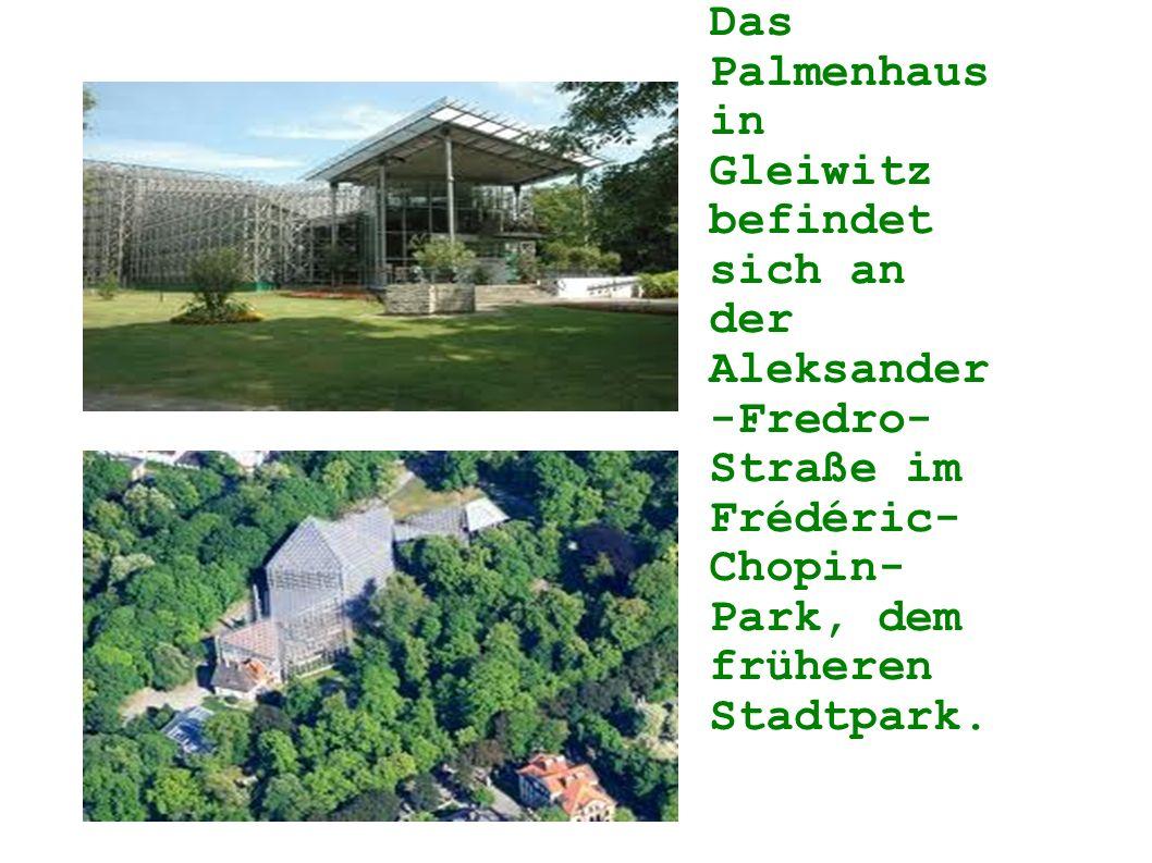 Das Palmenhaus in Gleiwitz befindet sich an der Aleksander-Fredro-Straße im Frédéric-Chopin-Park, dem früheren Stadtpark.