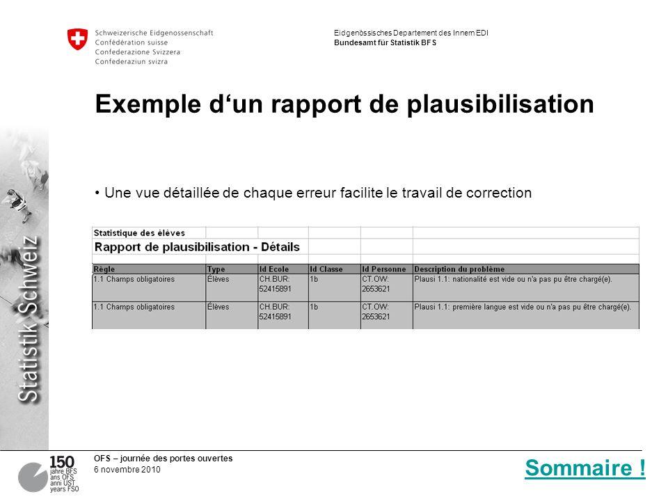 Exemple d'un rapport de plausibilisation