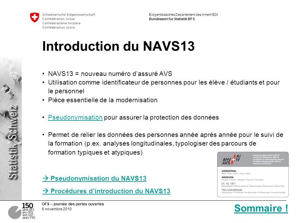 Introduction du NAVS13 Sommaire ! NAVS13 = nouveau numéro d'assuré AVS