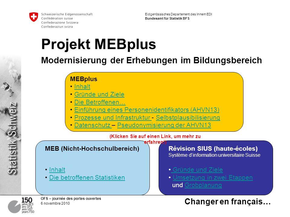 Projekt MEBplus Modernisierung der Erhebungen im Bildungsbereich