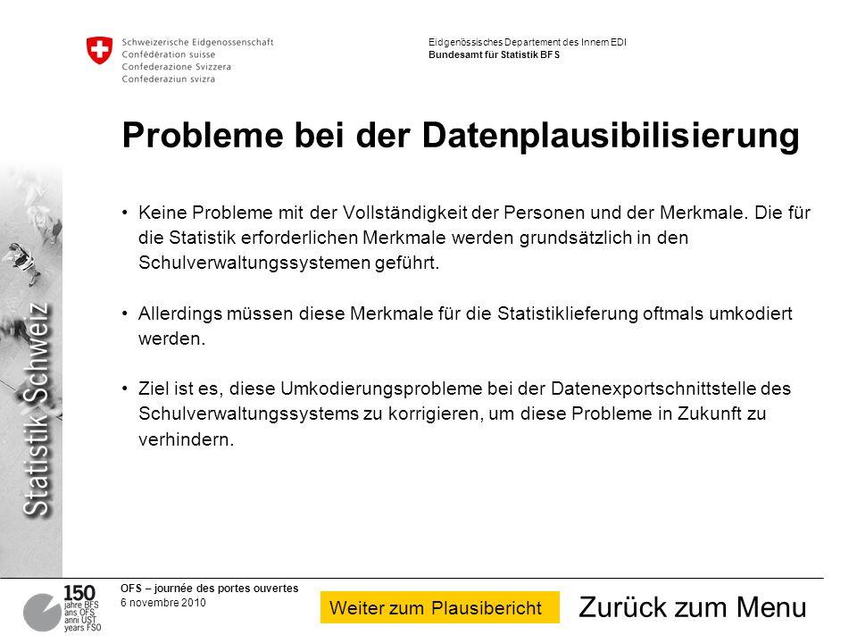 Probleme bei der Datenplausibilisierung