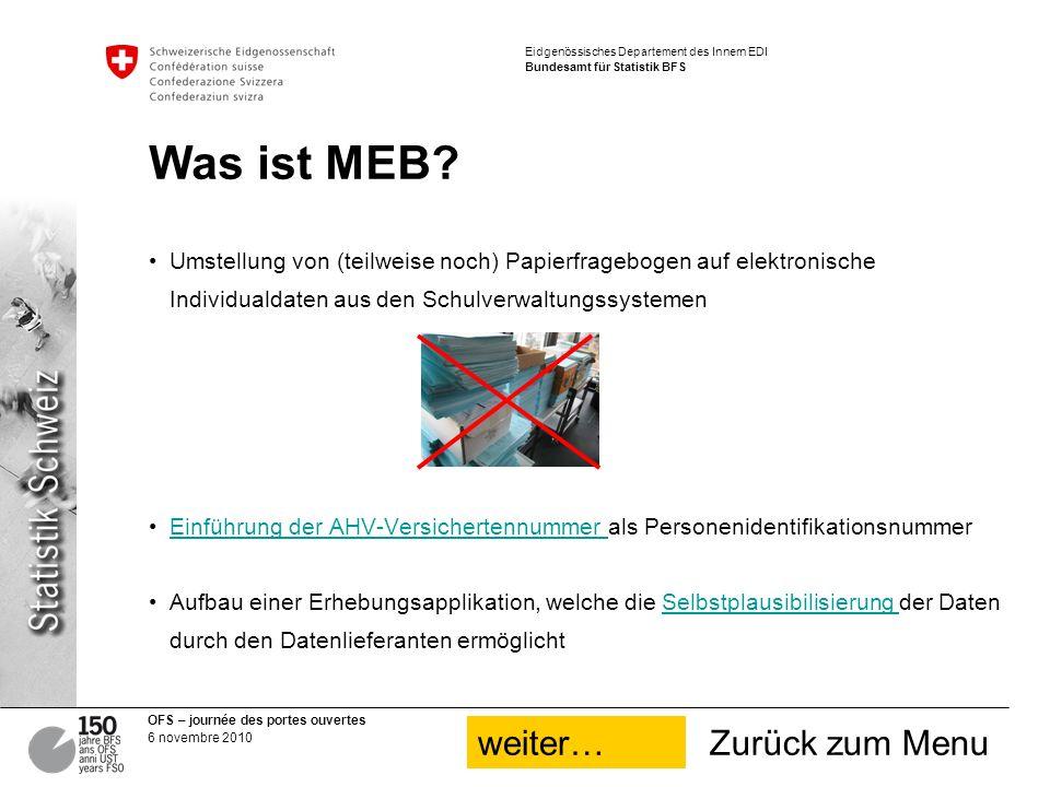 Was ist MEB weiter… Zurück zum Menu