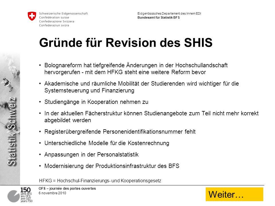 Gründe für Revision des SHIS