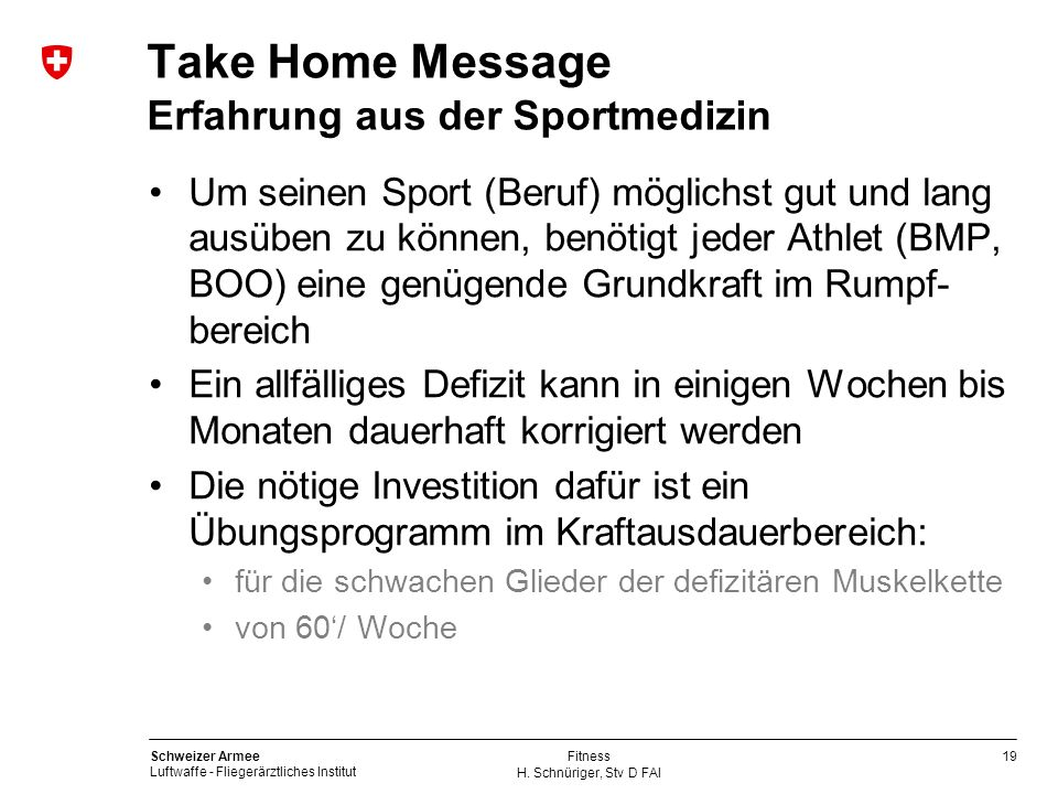Take Home Message Erfahrung aus der Sportmedizin