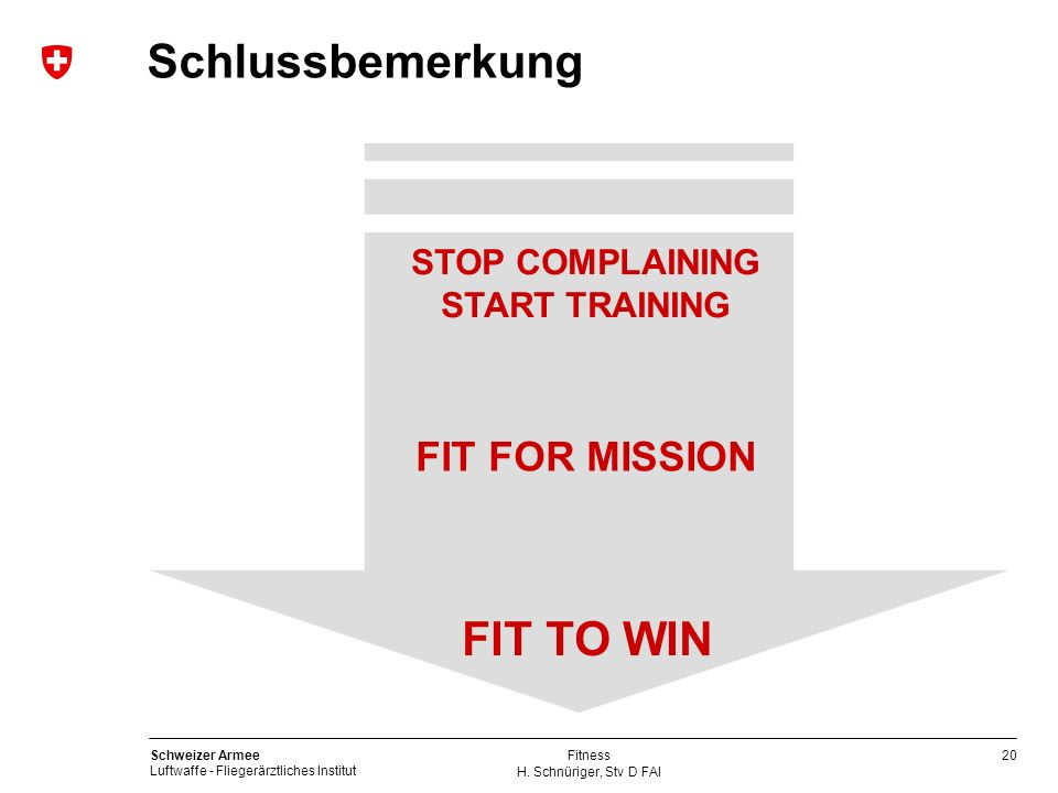 Schlussbemerkung FIT TO WIN FIT FOR MISSION STOP COMPLAINING