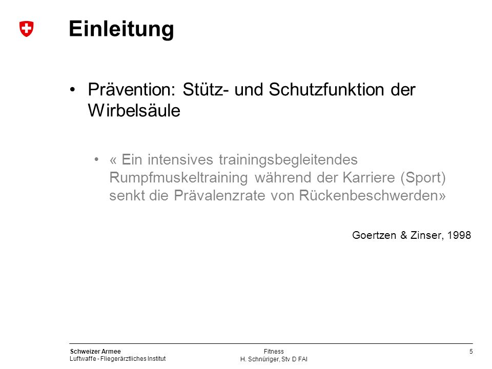 Einleitung Prävention: Stütz- und Schutzfunktion der Wirbelsäule