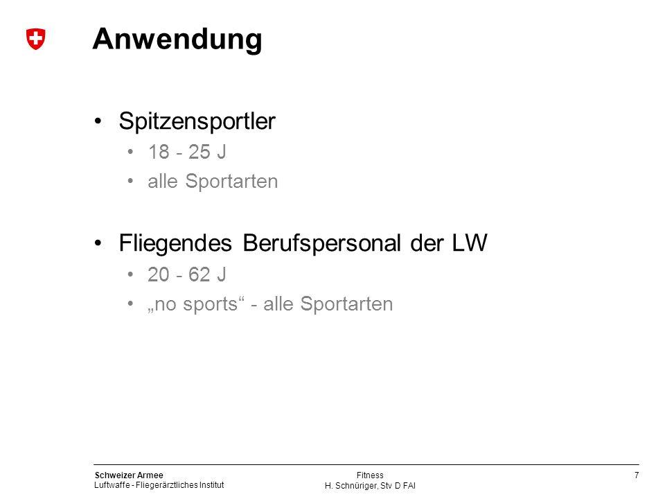 Anwendung Spitzensportler Fliegendes Berufspersonal der LW 18 - 25 J