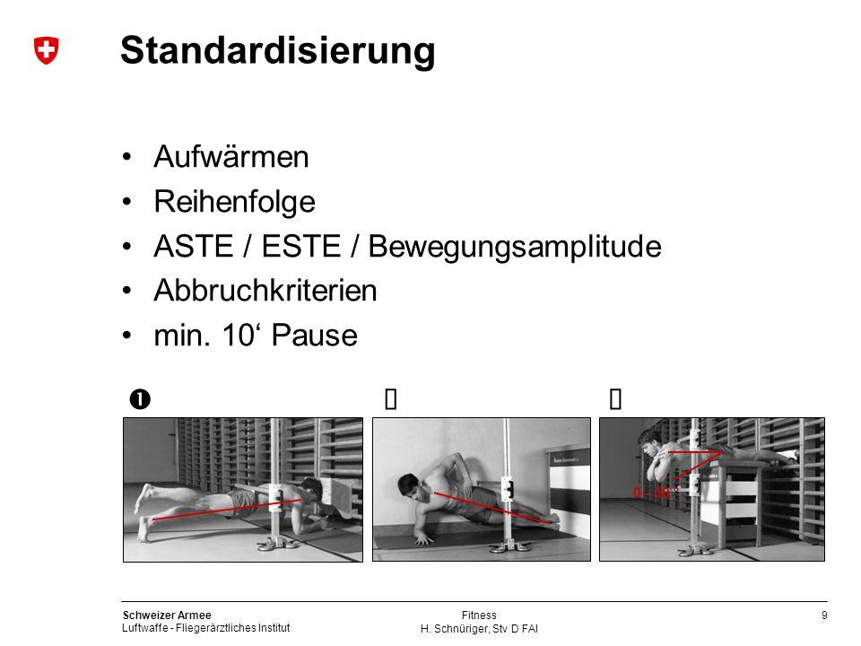 Standardisierung Aufwärmen Reihenfolge