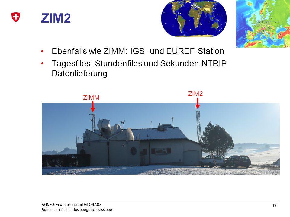 ZIM2 Ebenfalls wie ZIMM: IGS- und EUREF-Station