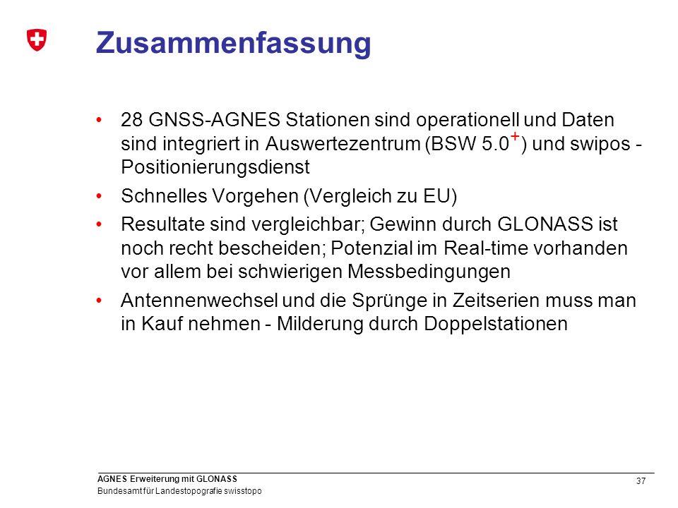 Zusammenfassung 28 GNSS-AGNES Stationen sind operationell und Daten sind integriert in Auswertezentrum (BSW 5.0+) und swipos - Positionierungsdienst.