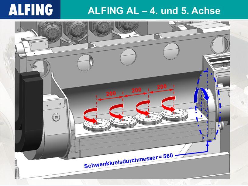 ALFING AL – 4. und 5. Achse 200 200 200 Schwenkkreisdurchmesser = 560