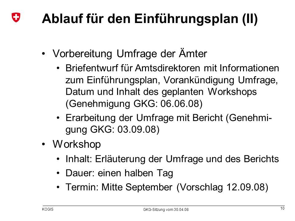 Ablauf für den Einführungsplan (II)
