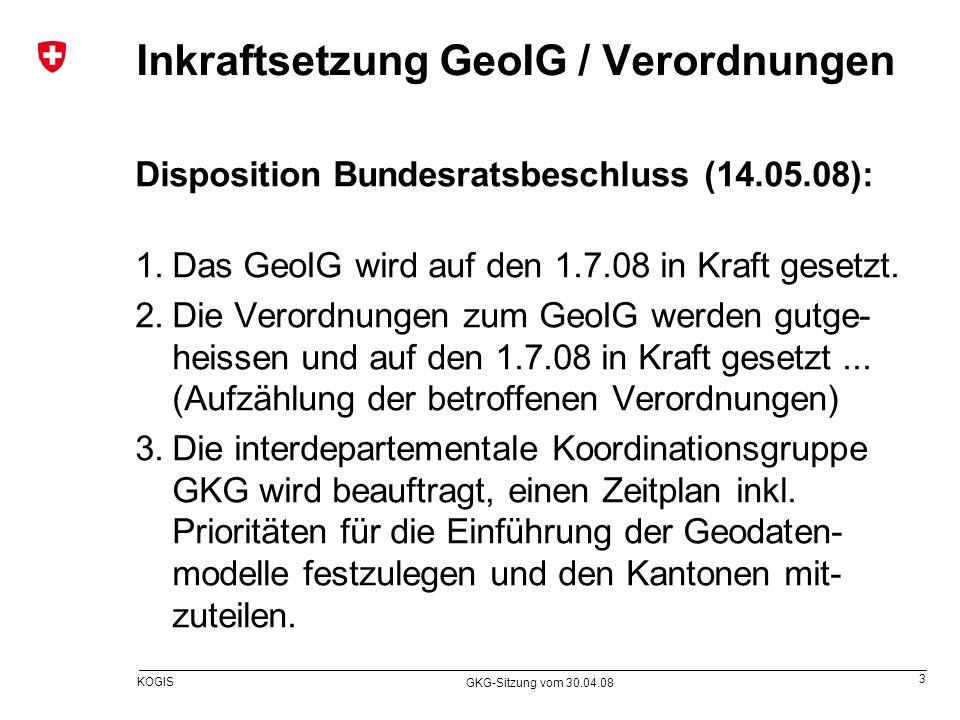 Inkraftsetzung GeoIG / Verordnungen