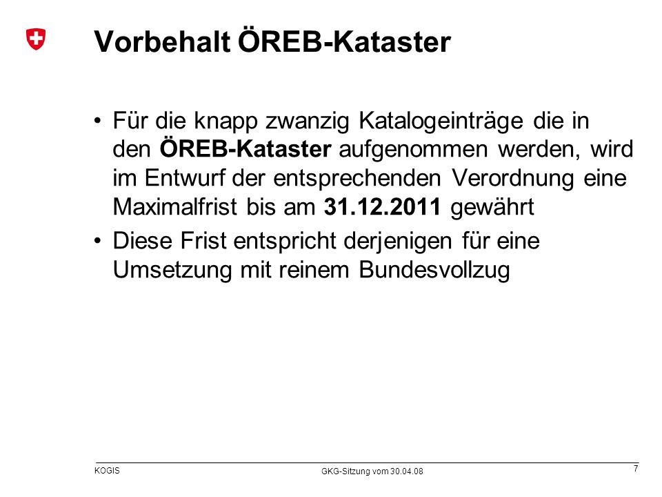 Vorbehalt ÖREB-Kataster