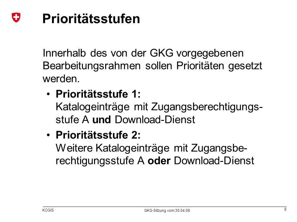 Prioritätsstufen Innerhalb des von der GKG vorgegebenen Bearbeitungsrahmen sollen Prioritäten gesetzt werden.
