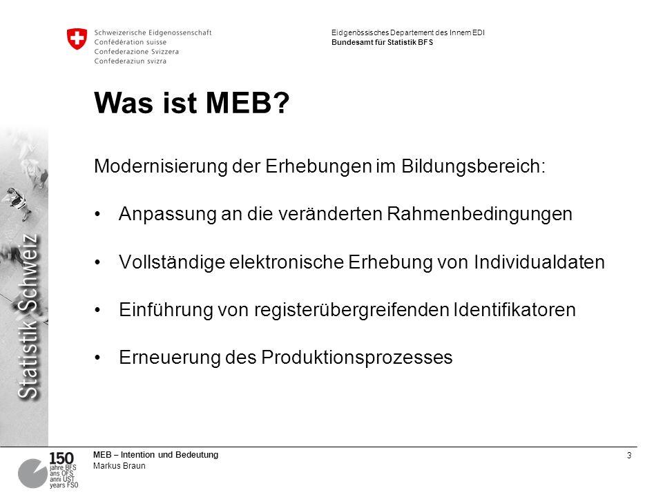 Was ist MEB Modernisierung der Erhebungen im Bildungsbereich: