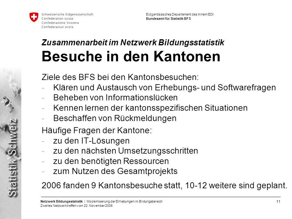 Zusammenarbeit im Netzwerk Bildungsstatistik Besuche in den Kantonen