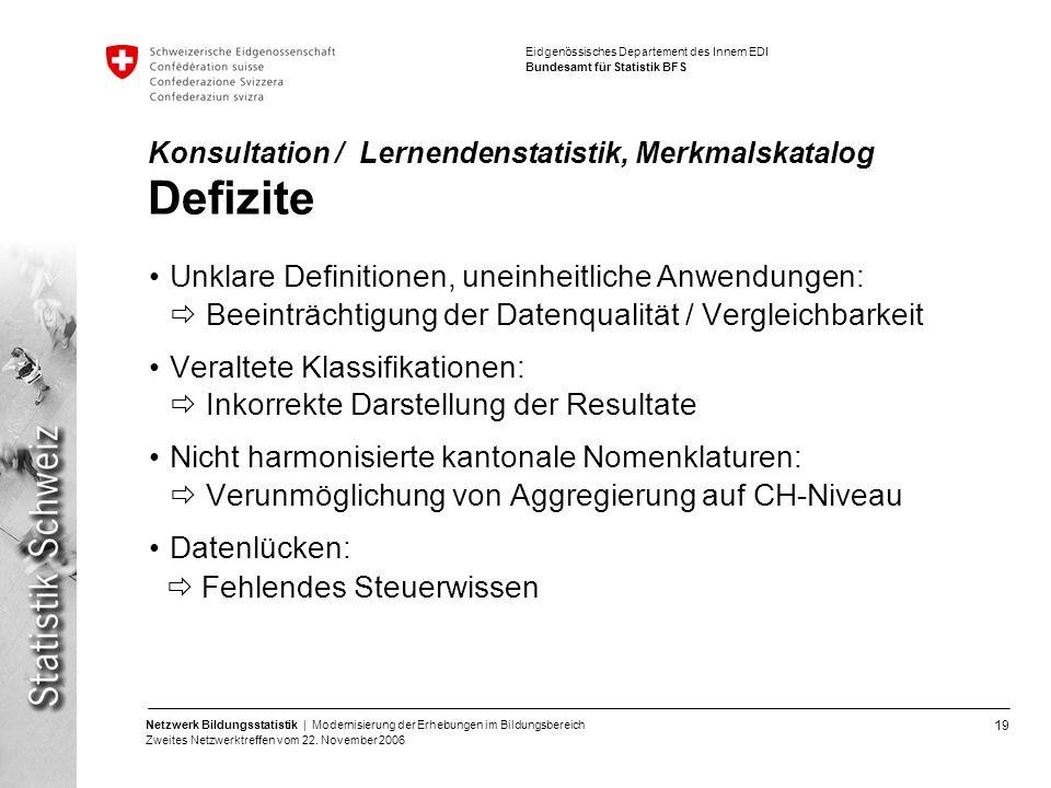 Konsultation / Lernendenstatistik, Merkmalskatalog Defizite