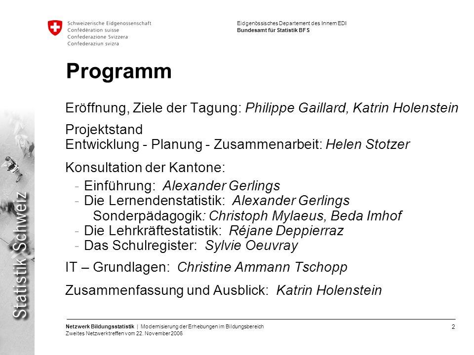 Programm Eröffnung, Ziele der Tagung: Philippe Gaillard, Katrin Holenstein. Projektstand. Entwicklung - Planung - Zusammenarbeit: Helen Stotzer.