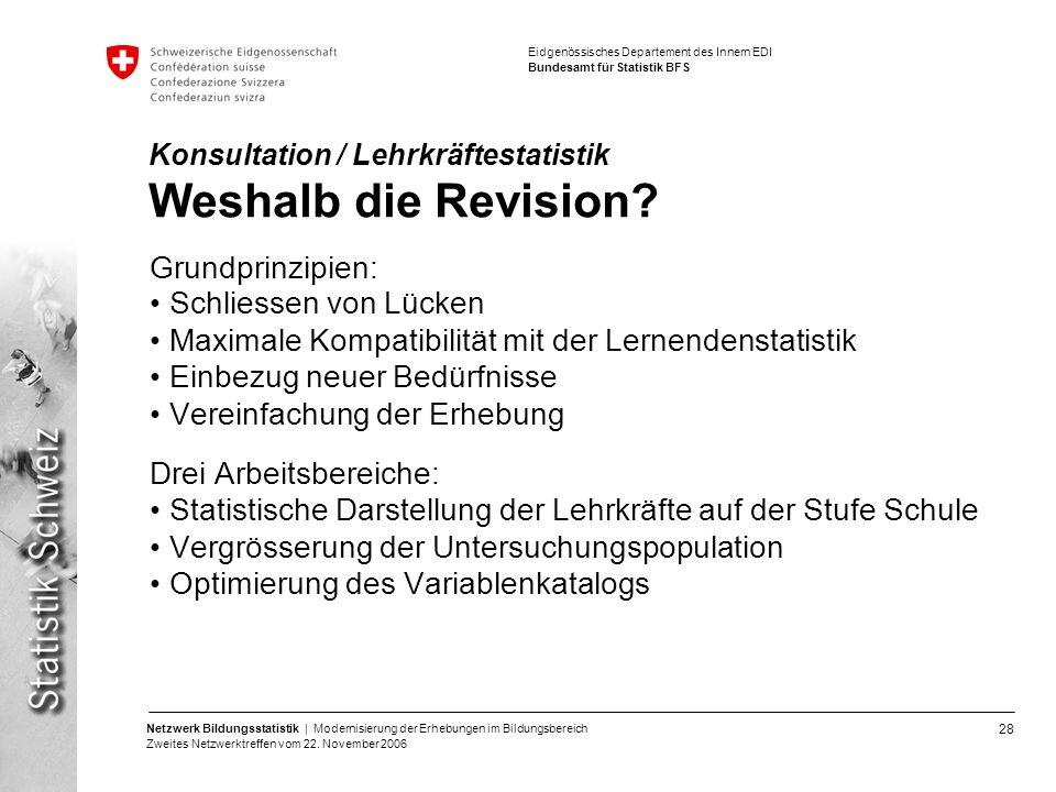 Konsultation / Lehrkräftestatistik Weshalb die Revision