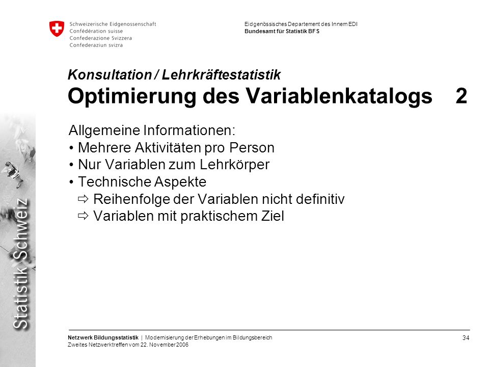 Konsultation / Lehrkräftestatistik Optimierung des Variablenkatalogs 2