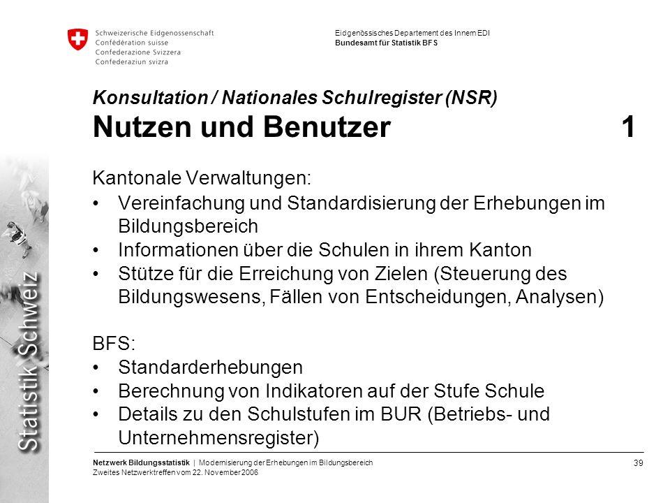 Konsultation / Nationales Schulregister (NSR) Nutzen und Benutzer 1