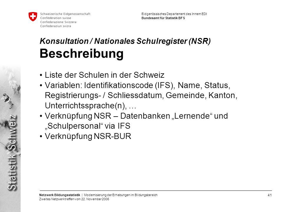 Konsultation / Nationales Schulregister (NSR) Beschreibung