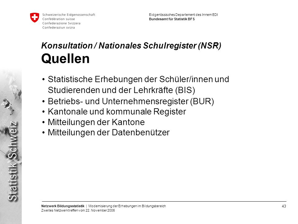 Konsultation / Nationales Schulregister (NSR) Quellen