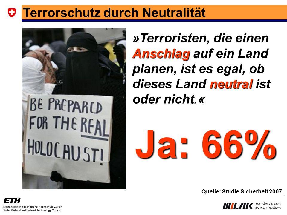 Ja: 66% Terrorschutz durch Neutralität