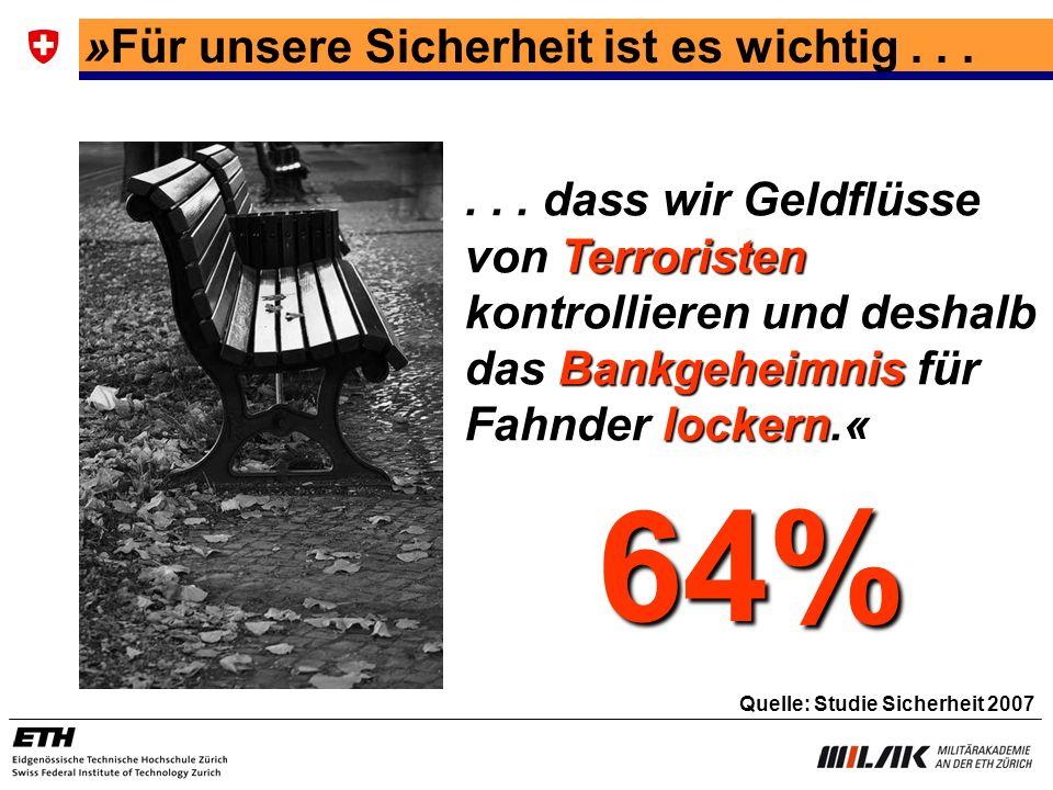 64% »Für unsere Sicherheit ist es wichtig . . .