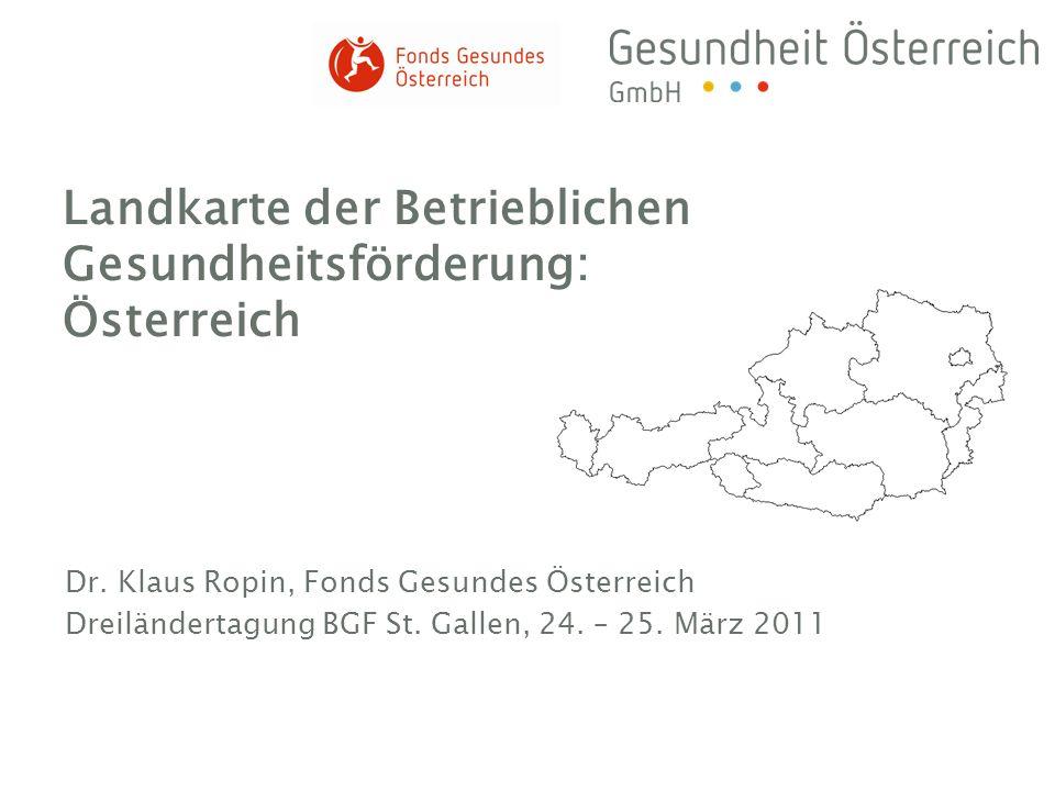 Landkarte der Betrieblichen Gesundheitsförderung: Österreich